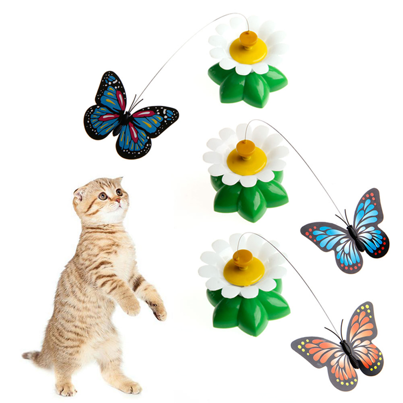 Buy 1pc electric rotating butterfly cat for Best motorized cat toys