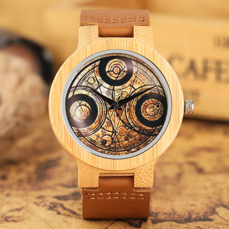 Casual Wooden Watch Dr. Who Ancient Magic Circle Dial Simple Men Women Sport Bamboo Wristwatch TV Fans Clock relogio masculino simple fashion hand made wooden design wristwatch 2 colors rectangle dial genuine leather band casual men women watch best gift