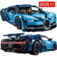38036 Diy BugattiED Technic Series Chiron Blue Racing Car Building Blocks Compatible with Legoingly Technic Bricks Kid Toys