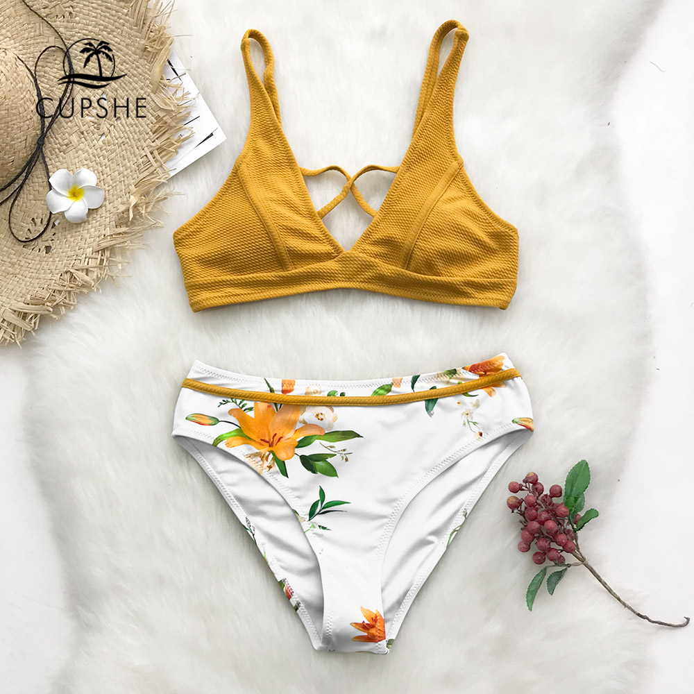 CUPSHE Yellow Floral Print Bikini Sets Women Cross Triangle Two Pieces Swimsuits 2020 Girl Sexy Bathing Suits Swimwear