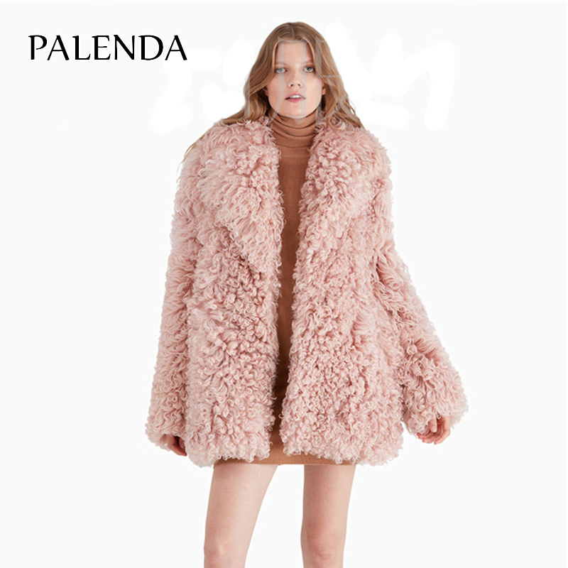 pink and black curly fur coat