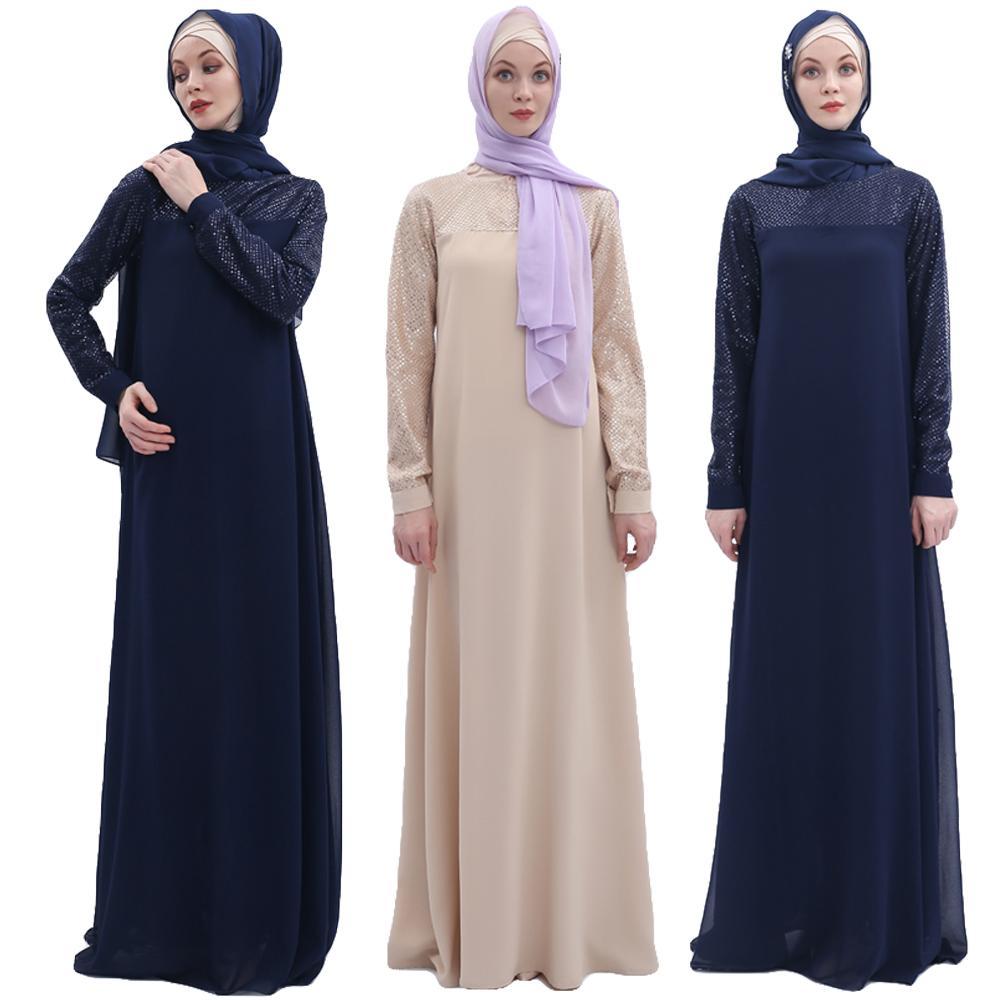 Musulman Abaya paillettes longue Robe Maxi Robe Jilbab pour les femmes en mousseline de soie caftan dubaï Robe Patchwork à manches longues Robe turque de mode