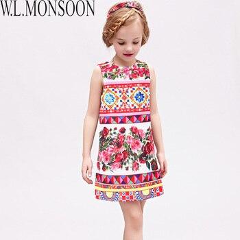 W.L.MONSOON Vestido Princesa Girls Dress Summer 2017 Brand Kids Dresses for Girls Clothes Rose Flower Princess Dress Costumes