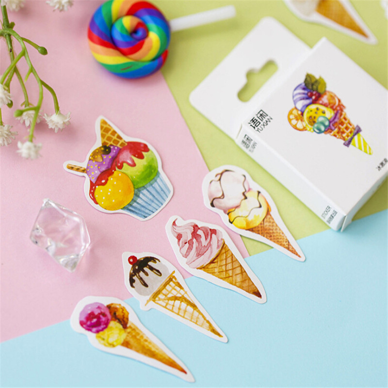 50PCS/box Cute Ice Cream Paper Label Sealing Stickers Crafts And Stickers Scrapbooking Decorative Lifelog DIY Stationery