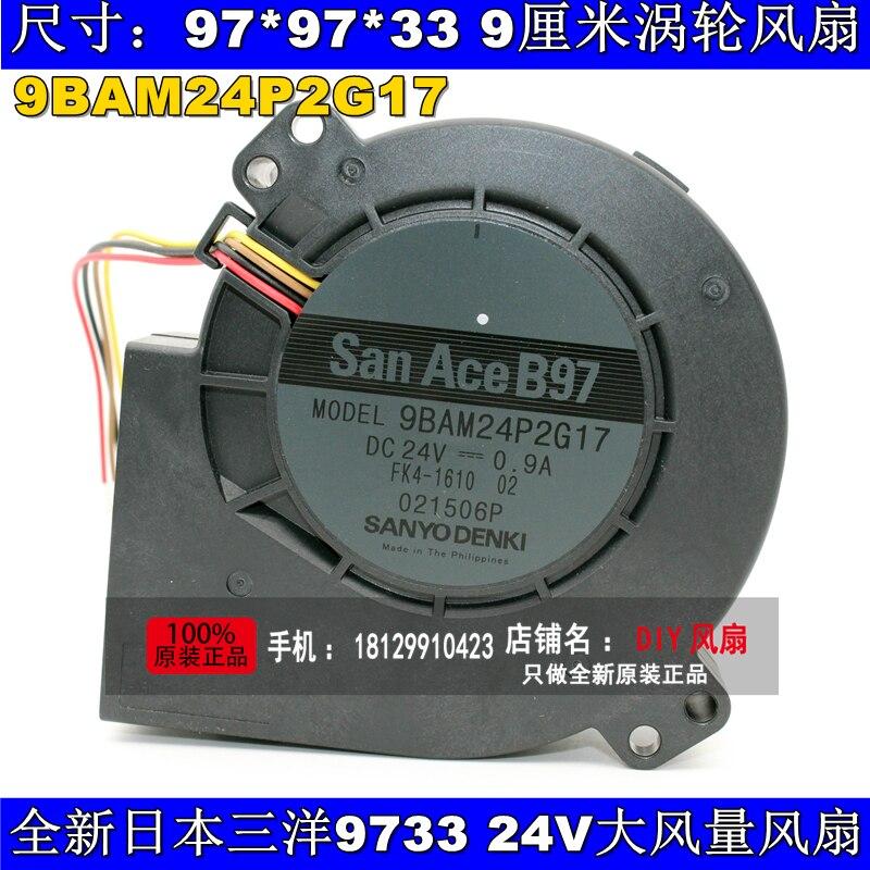 цены  New Original SANYO 9BAM24P2G17 DC24V 0.9A 97*33MM 9CM large wind blower cooling fan