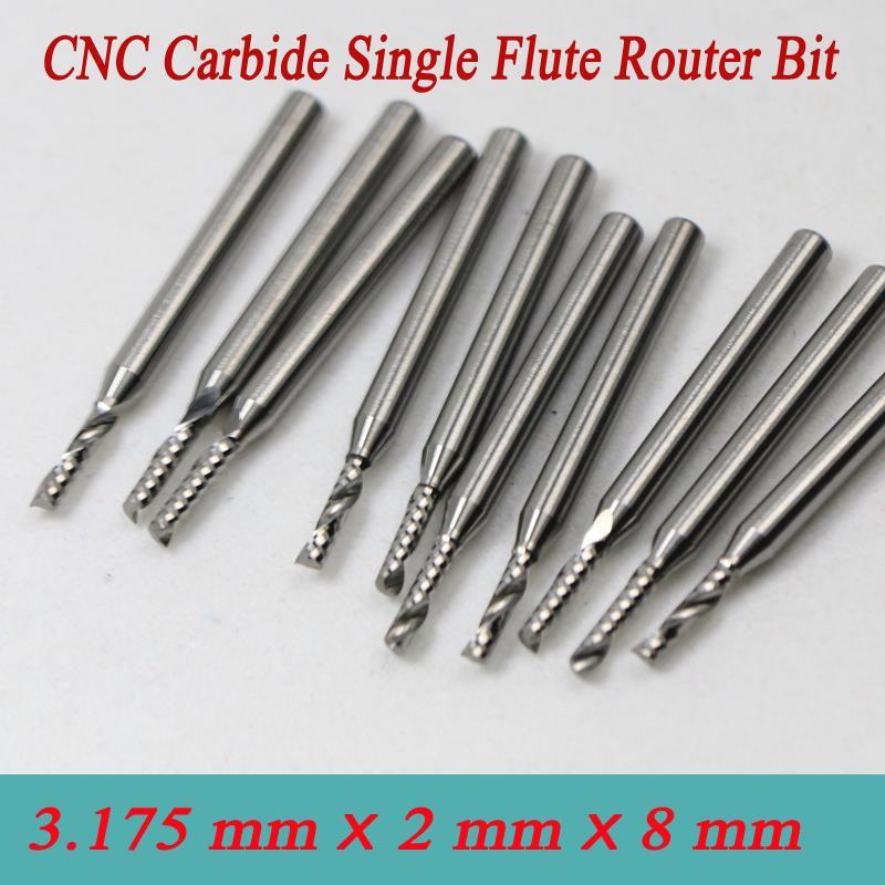 10pcs Single Blade Aluminium cutting single flute CNC router bits 3.175*1.5*4mm