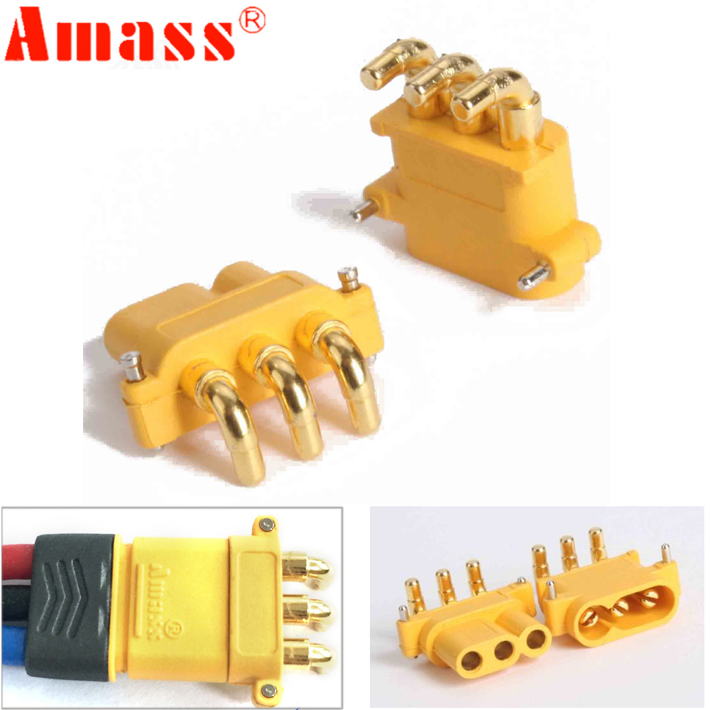 10 X Amass MR30PW Connector Plug With Sheath Female & Male For RC Lipo Battery RC Multicopter Airplane (5 Pair )