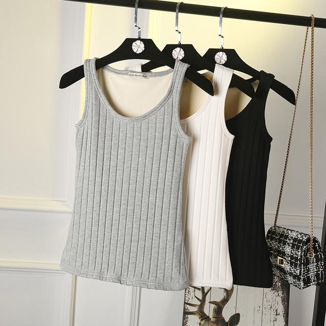Nueva 2016 Otoño invierno mujeres espesar tops caliente Engrosamiento color Sólido sin mangas de terciopelo chaleco femenino blusas más el tamaño