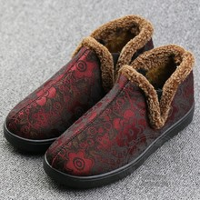 Individuality Middle Aged Solid Color Special Offer Soft Leather Cotton Flannel Anti Slip Designer Shoes Women Shoes Flowers
