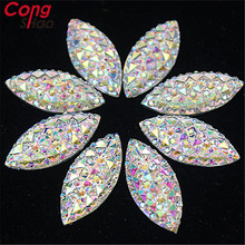 New 80pcs 9*20mm Crystal AB Resin Flatback Rhinestones Horse Eye Stones Scrapbook Strass for DIY Wedding dress 8Y190