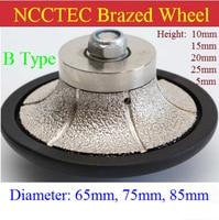 B Type shape [65mm*5mm/15mm/20mm Round Over] diamond vacuum Brazed hand profile shaping wheel Granite ROUTER BIT
