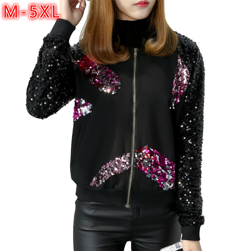 New 2018 Spring Korean Fashion Ladies Sequin jacket Plus Size Casual Women Bomber jackets Zipper Sequins Coat Woman Black M-5XL