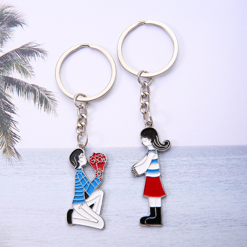 1 Pair Lovers Keychains Lovely Double Fox Bear Heart Pattern Pendants Unrequited Love Key Rings Engagement Wedding Keychains