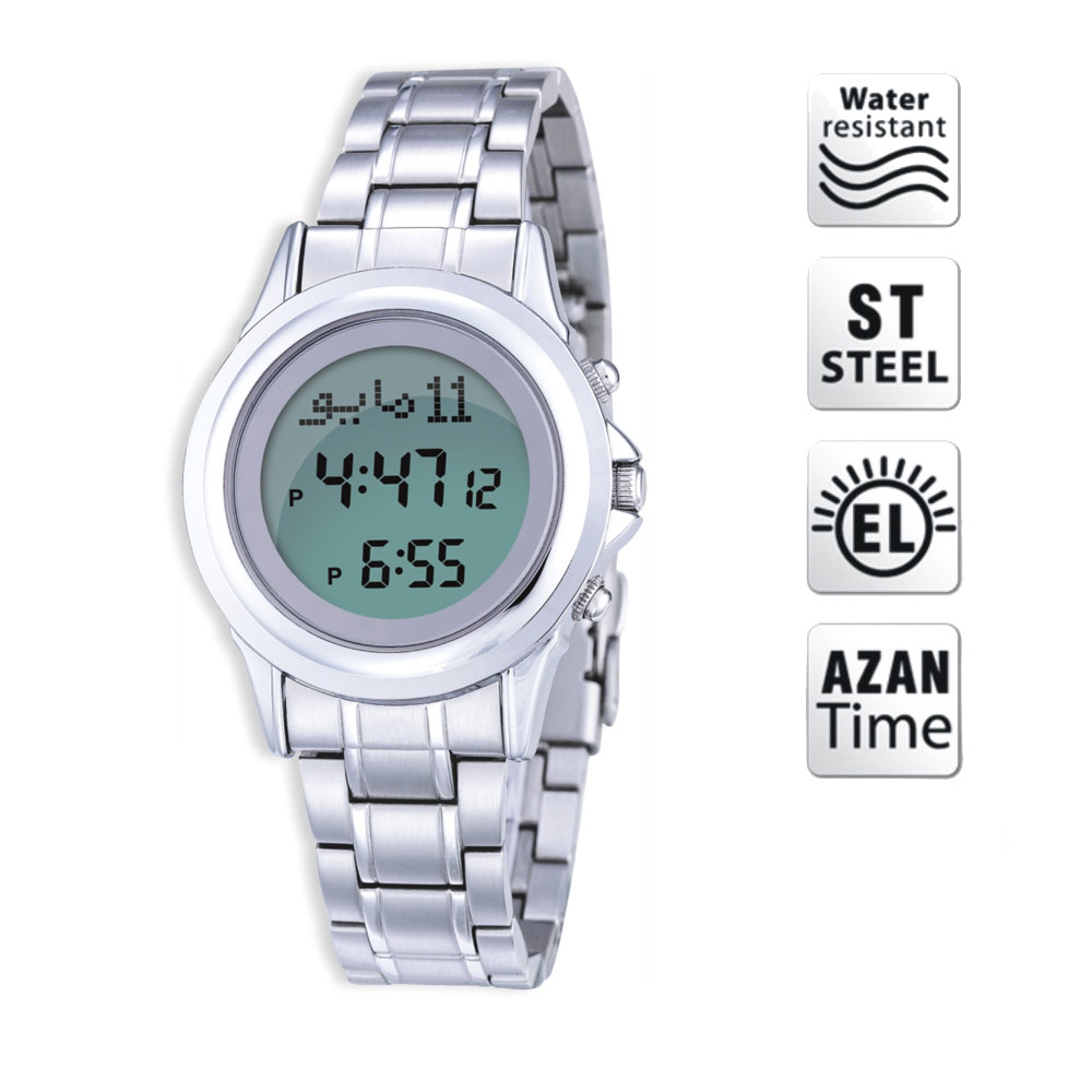 100% Origin Newest Azan Watch 6381 Ladies Watch Islamic Qibla Watch With Prayer Compass Muslim Watch Best Gifts, Sliver 1pc