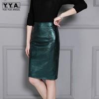 Зеленый кожаный офисный женский узкий прямой из натуральной кожи овчины юбки Новинки для женщин Высокая Талия однотонные осенние средней д