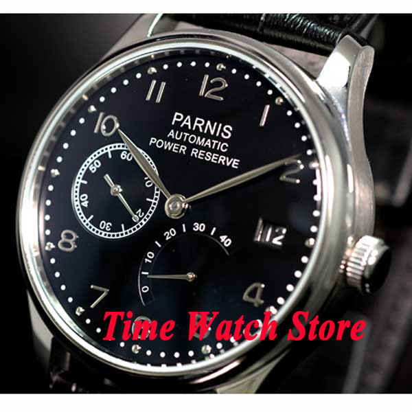 Parnis 43mm black dial silver hands leather strap power reserve 2530 Automatic movement  Mens watch 207 relogio masculinoParnis 43mm black dial silver hands leather strap power reserve 2530 Automatic movement  Mens watch 207 relogio masculino