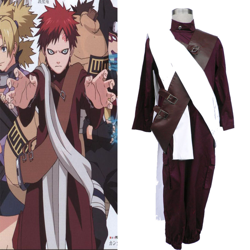 HOT Japanese Naruto Gaara 3 Generation Cosplay Costume Clothes Full Set Unisex