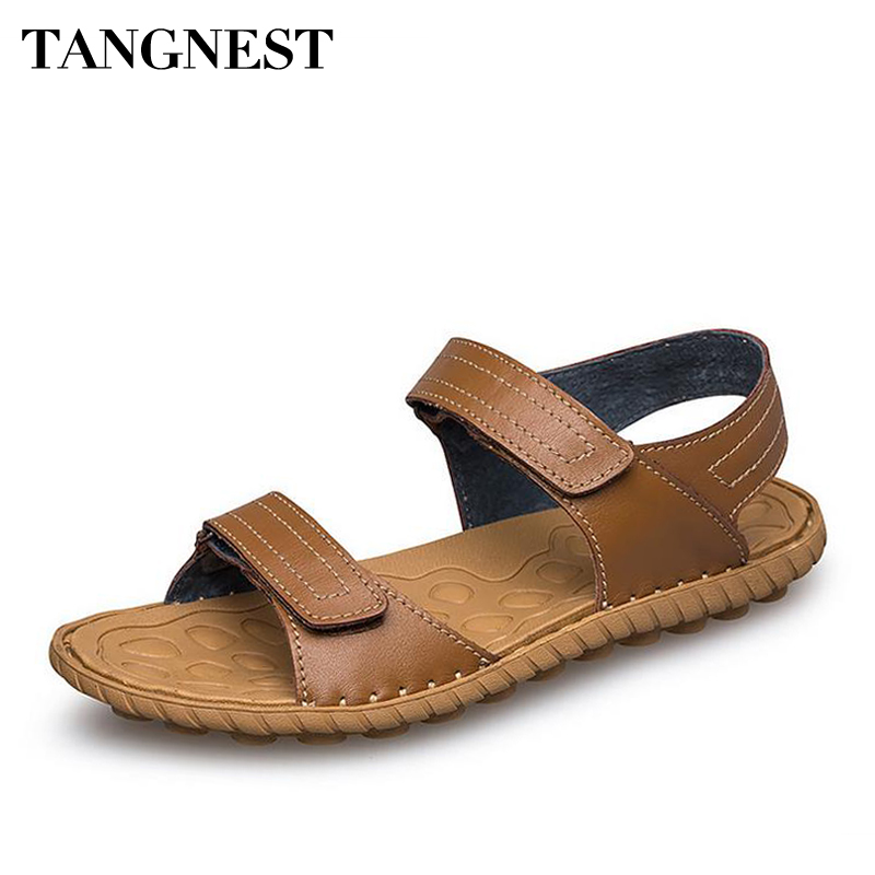 Tangnest Summer Beach Man Sandals Fashion Genuine Cow Leather Sewing Anti Slippy Man Flats Soft Casual Men Driving Shoes XML226