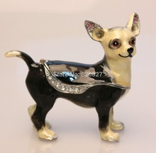dog trinket box pug chihuahua gemstone jewelry