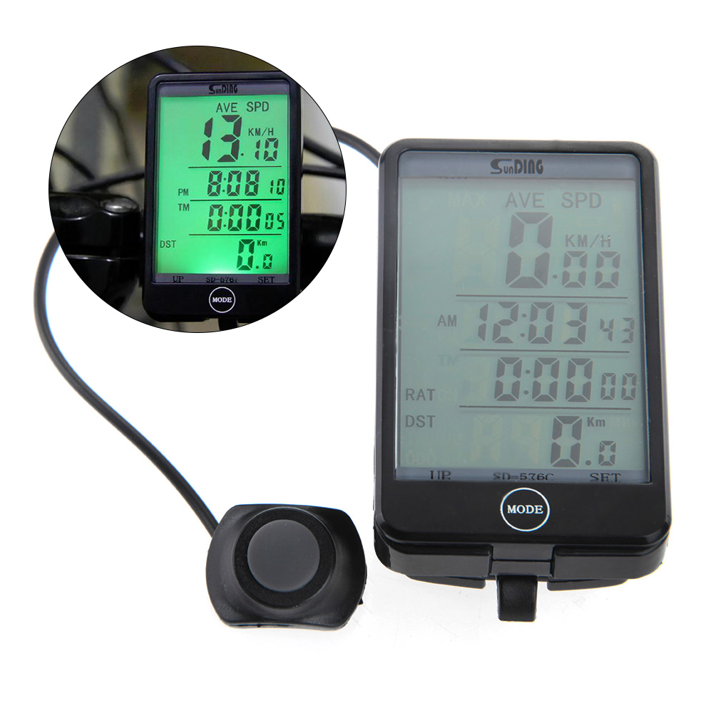 Wireless/Wired LCD Backlight Bike Bicycle Cycling Computer Odometer Speedometer New Touch Button LCD Computer Bicycle Backlit