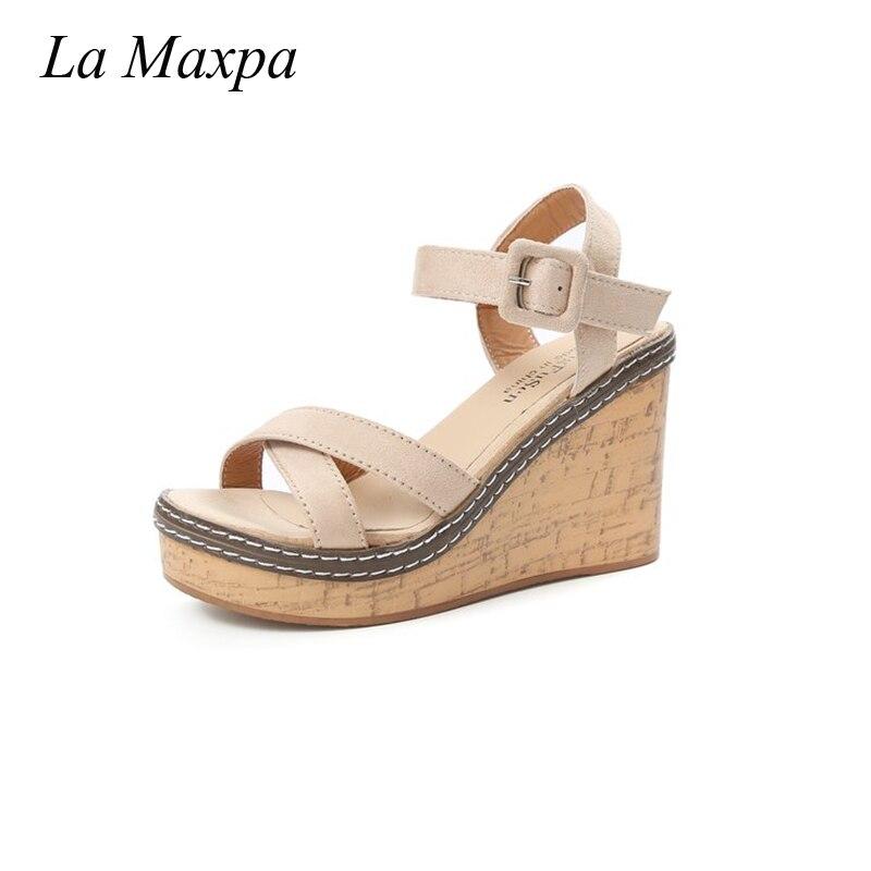 все цены на La MaxPa Wedges Summer For Women Shoes Platform High Heels Strap Solid Buckle Strap PU Leather Soft Insole Blue Lightweight