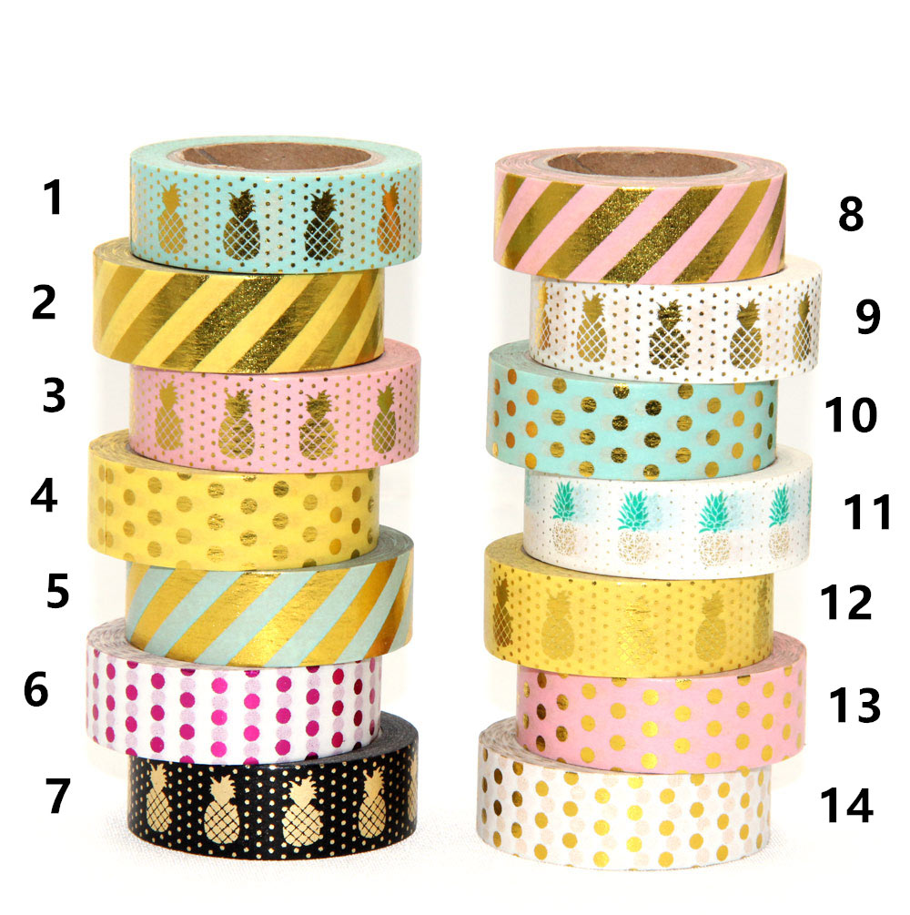 New 1x 15mm gold stamping pineapple fruit japanese washi tape scrapbooking tools papelaria decorative masking tape