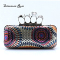 2016 New Women Sequined Handbags Day Clutches Skull Fingers Rings Evening Bags Purses Ladies Punk Shoulder Messenger Bags bolsos