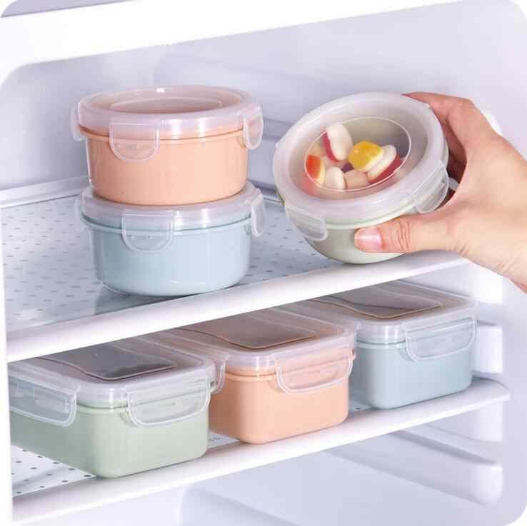 1pc PP Silicone Food Storage Box Round Mini Refrigerator Crisper Storage Box Kids Seal Box Lunch Grains Tank Sorting Container