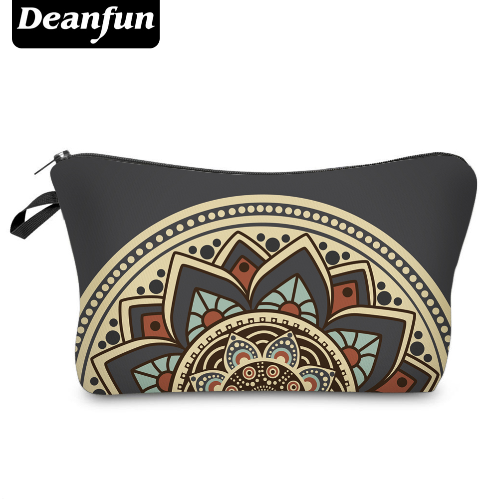 Deanfun Cosmetic-Bags Toiletry Necessaries Vintage Floral Zipper Women with 3d-Printed