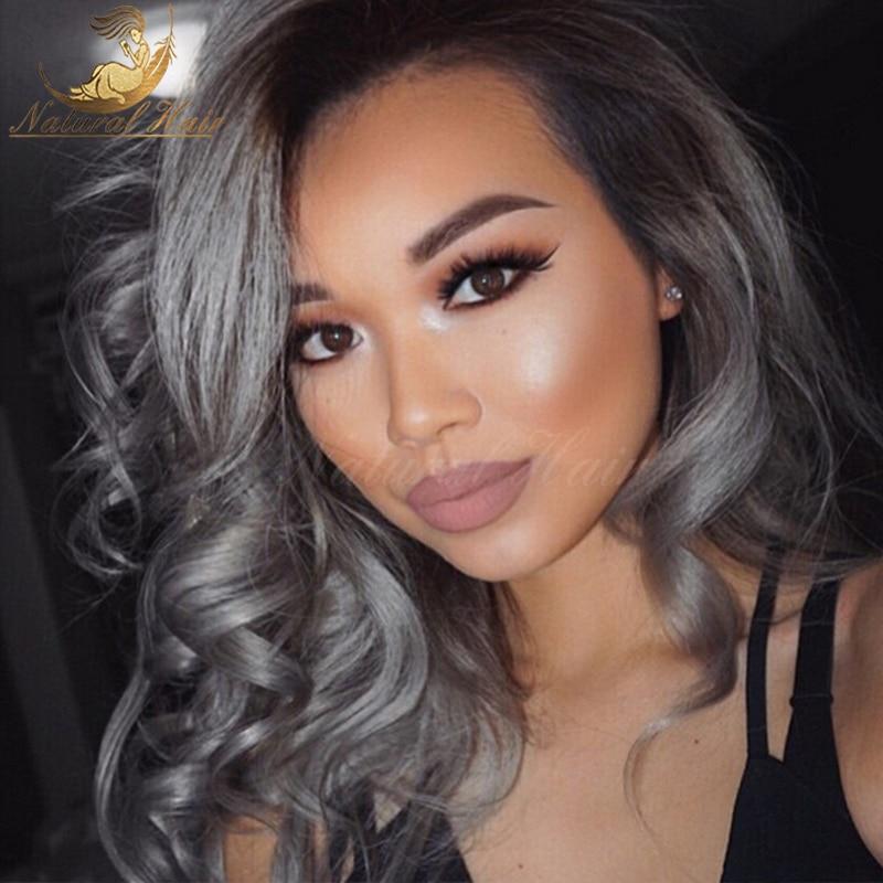 Hot Sale Silver Grey Human Hair Wigs Brazilian Full Lace