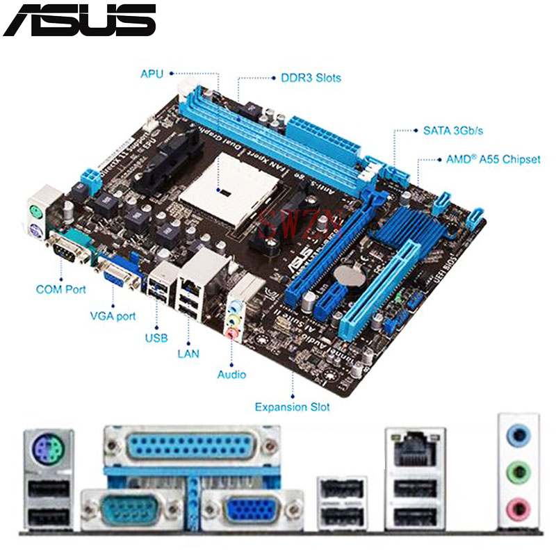 original Used Desktop motherboard For ASUS F1A55-M LX A55 support Socket FM1 2*DDR3 support 32G Micro ATX asus m4a88t m desktop motherboard 880g socket am3 ddr3 sata ii usb2 0 uatx
