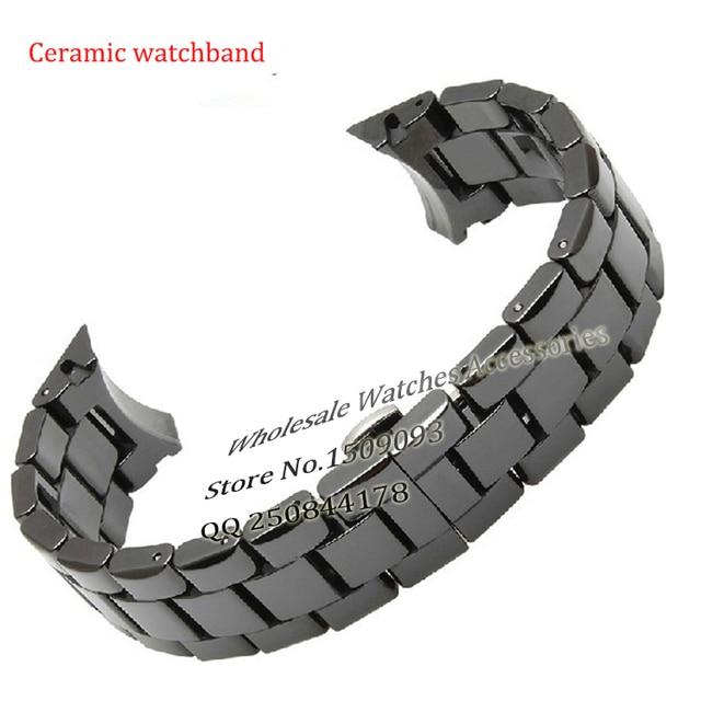 AR1410 Watchband Ceramic Black Watchbands 18mm 22mm Radian End Solid Links Diamond Watch Accessories General Bands AR1442 Man
