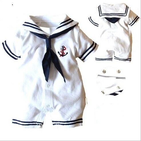 Roupas Bebê recém nascido Meninas Meninos Romper Branco uniformes de  Marinheiro da Marinha 100% Algodão de manga Curta One Pieces Macacão  Criança Roupas em ... a96f1621582