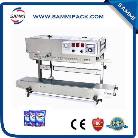 top selling stainless steel continuous plastic sachet sealing machine with date coder