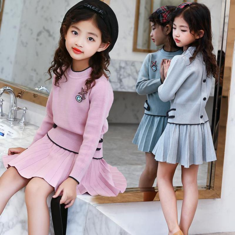 2017 New Autumn Baby Girls Clothes Girls Clothing Sets Long Sleeve Sweaters + Skirts Casual 2 Pcs Girls Suits Kids Clothing Sets 2017 new minnie girls clothing sets spring casual cotton baby suspenders set full sleeve shirts jeans 2 pcs kids clothing