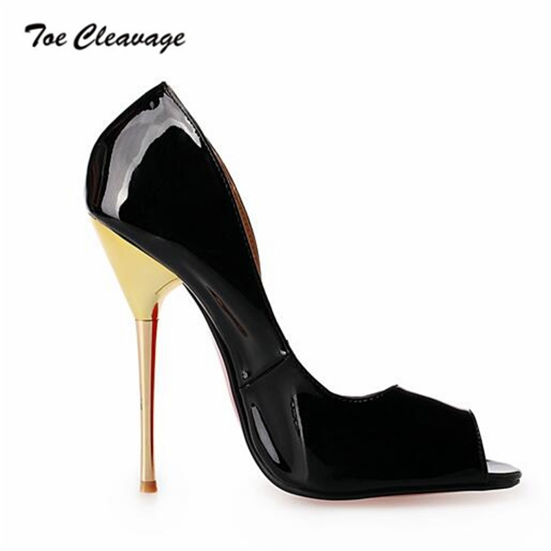 f82b6676dd Toe Cleavage stilettos Summer Shallow shoes woman sexy 14cm Metal Thin  Heels Wedding Peep Toe Pumps Plus size US15 16 17 18 19-in Women's Pumps  from Shoes ...