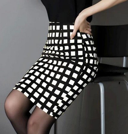 Black And White Plaid Pencil Skirt