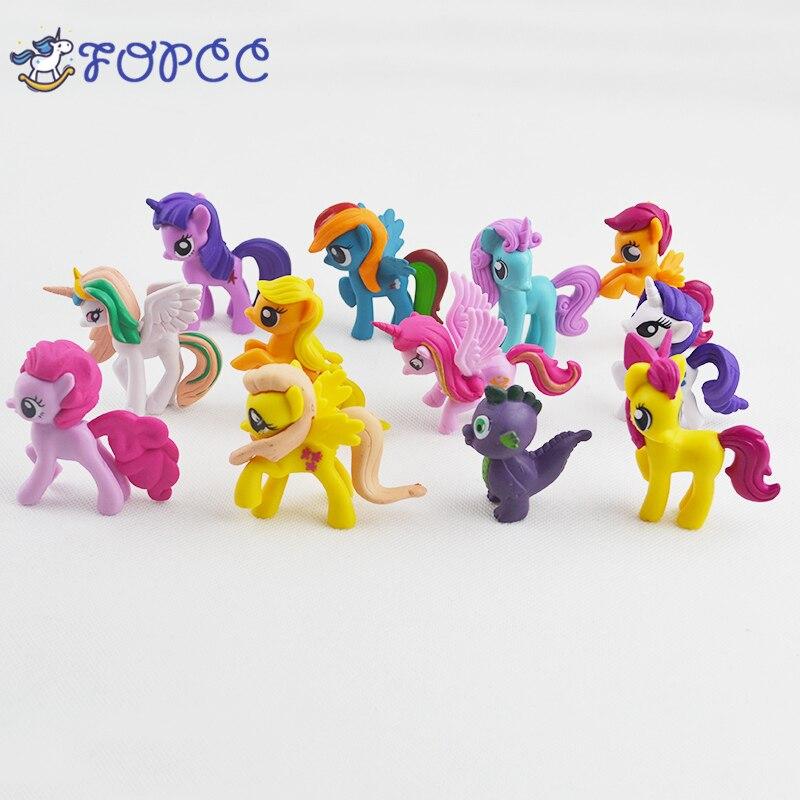 12stks/Set MLP 6 7cm Leuke Paard Actiefiguren Aarde Ponies Eenhoorn Pegasus Alicorn Ponies Figuur Voor Meisje Gift Speelgoed