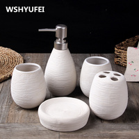 5PCS Ceramic Bathroom Sets Of Home Decoration Creative Bathroom Toiletries Soap Dish Toothbrush Holder