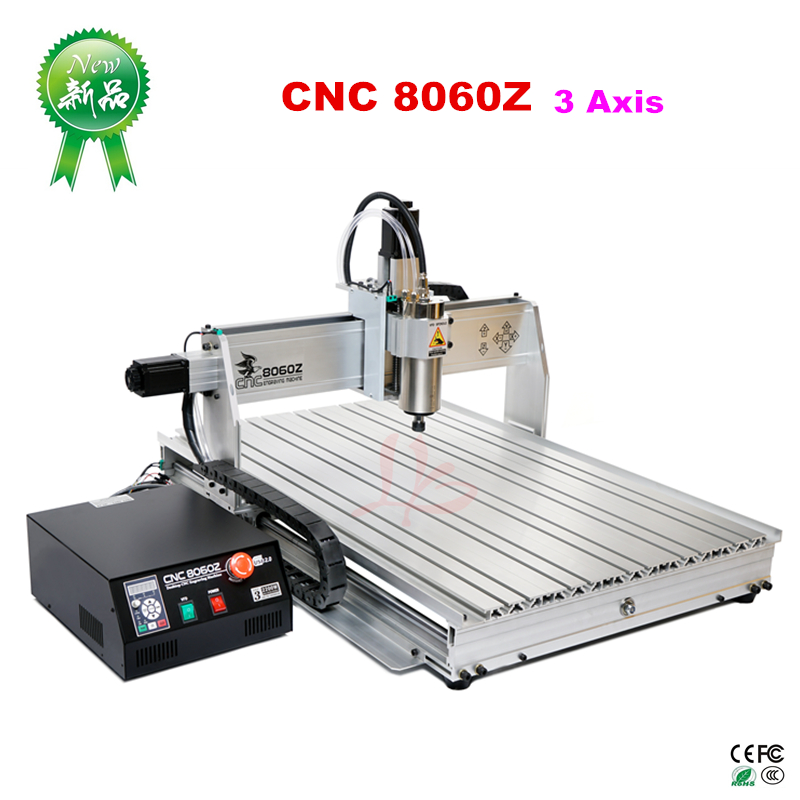 Water Cooling CNC Machine 8060Z-USB 3axis 2.2KW Metal CNC Milling Machine, Russia free taxWater Cooling CNC Machine 8060Z-USB 3axis 2.2KW Metal CNC Milling Machine, Russia free tax