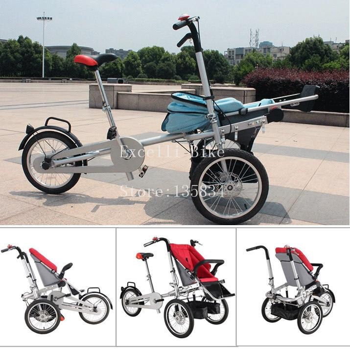 Folding Bike 3 Wheels Bicycle 16 Mother Baby Stroller Bike