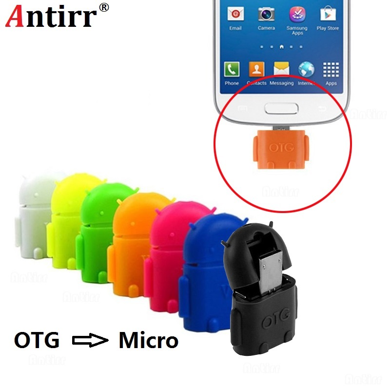 Universal Android Robot shape Micro USB OTG Cable Adapter 2.0 Converter for flash Drive Mouse keyboard Hand Shank Tablet Phone