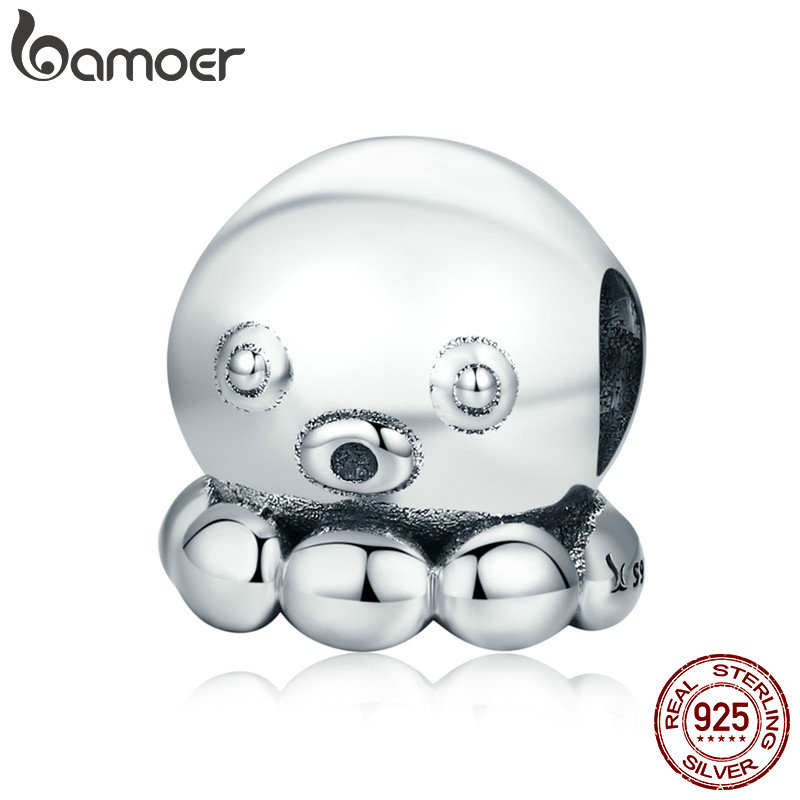 BAMOER Authentische 100% 925 Sterling Silber Octopus Tintenfisch Tintenfisch Perlen fit Charme Armband & Halskette Silber Schmuck SCC622