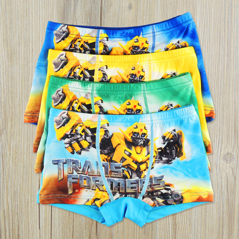 4 Pcs/Lot Cotton Cartoon Kids Boys Underwear Soft Breathable Baby Boxer Childrens Clothe ...