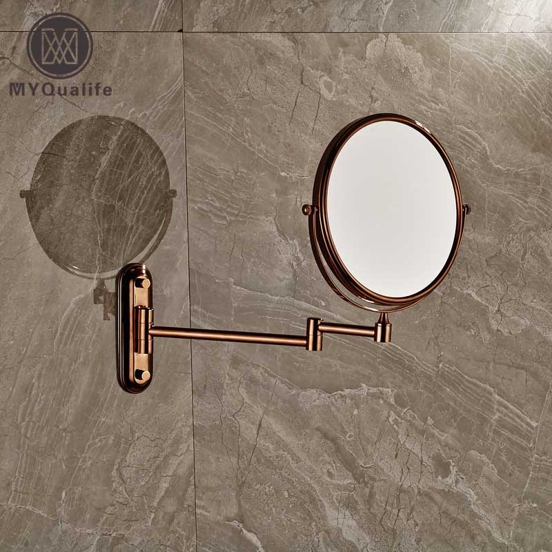 Rose Golden Make Up Magnifying Mirror Bathroom Wall Mounted Extending Double Side Round Folding Shaving Mirror high quality 9 brass 1x3x magnifying bathroom wall mounted round 25 led cosmetic makeup mirror with lighting mirror 2068