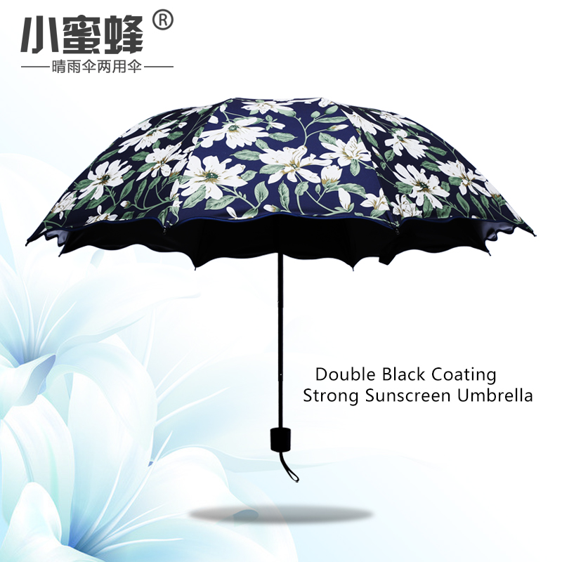 Click here to Buy Now!! Lily Pattern Umbrella Women Sunny and Rainy Fashion  Three Folding Paraguas sun Parasol Non-automatic Umbrella rain women 2f3d36c343872