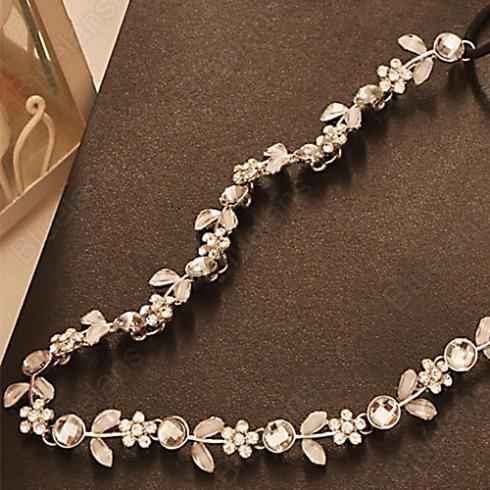 Hot Fashion Women s Hot New Silver Crystal Rhinestone Flower Elastic Hair Band Headband Hair Accessories