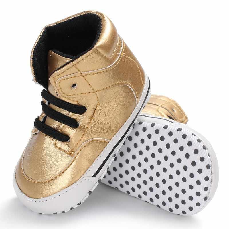 Trẻ sơ sinh Bé Trai Cao-top Sneaker Da Toddler Giày Em Bé Chống-Slip Mềm Có Đế Lace up Xuân Thu khởi động