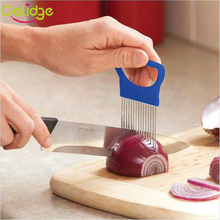 1 pcs Easy Cut Onion Holder Fork  Stainless Steel +Plastic Vegetable Slicer Tomato Cutter Metal Meat Needle Gadgets Meat Frok