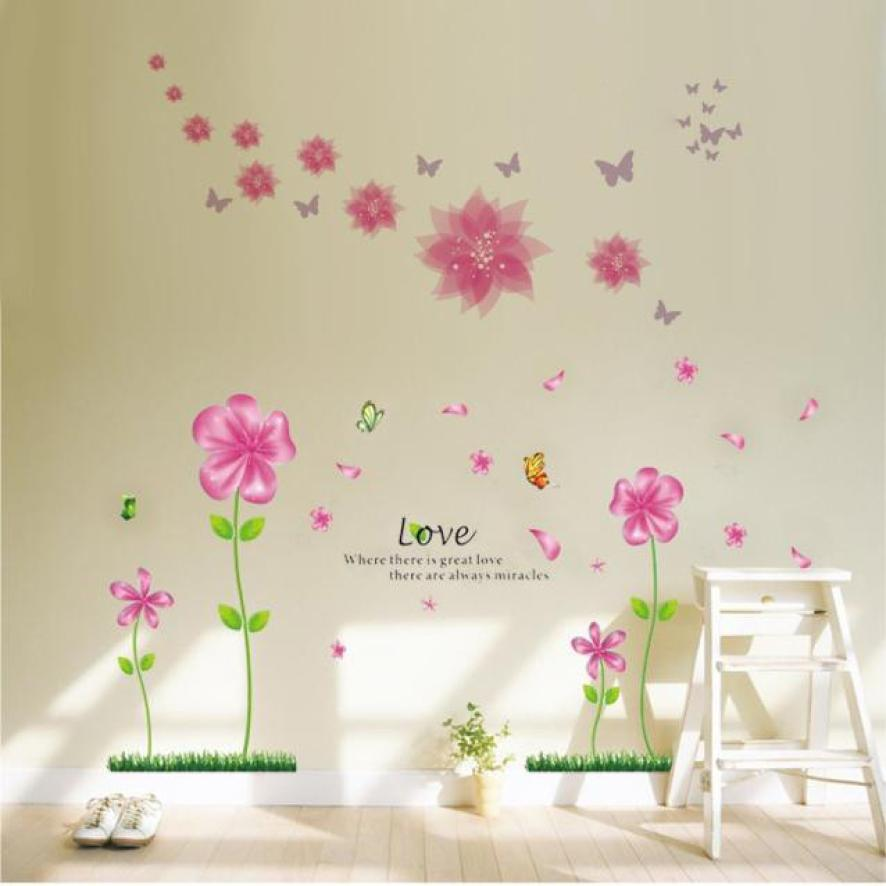 2017 Love Petal Flowers Butterflies Removable Wall Decals Large Wall  Stickers Home For Living Room Bedroom